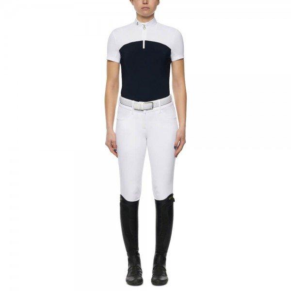 Cavalleria Toscana Show Shirt Ladies Perforated Stripe Jersey S/S Zip FS21