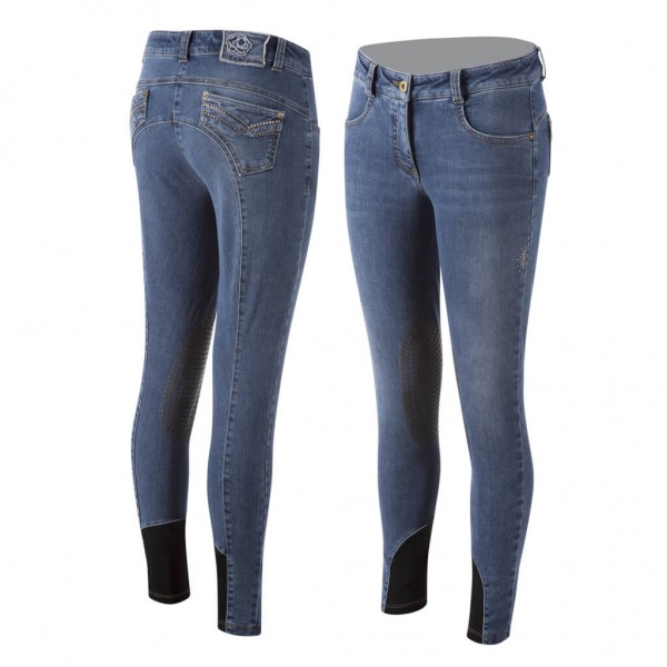 Animo Breeches Women's Ninfee HW21, Knee Patches, Knee-Grip, Jeans