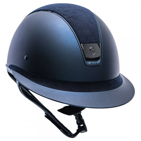 Samshield Riding Helmet Miss Shield SM, Top+FB Alct, Trim matt, 5 Sw metallic blue, Blazon blk chrm