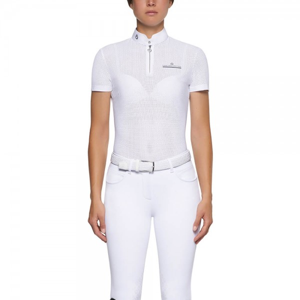 Cavalleria Toscana Show Shirt Ladies CT Fully Perforated Jersey S/SZip, FS21