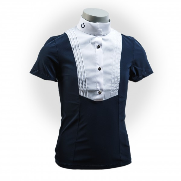 Cavalleria Toscana Girls Show Shirt Logo Button Up S/S Shirt W/Bib FS21